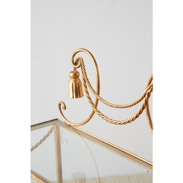 Hollywood Regency Gilt Iron and Faux Rope Vanity For Sale - Image 9 of 13