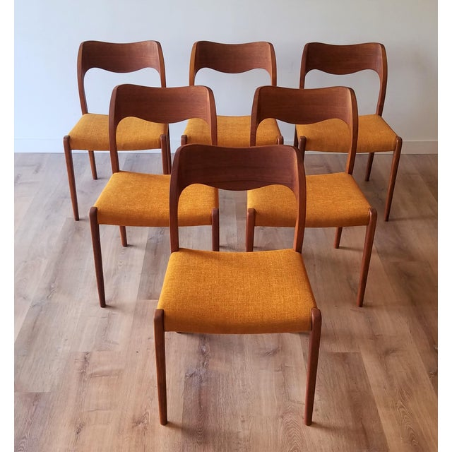 Newly Upholstered 1960s Niels Moller Model 71 Dining Chairs - Set of 6 For Sale - Image 13 of 13