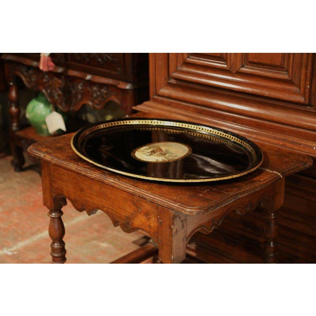 Late 19th Century 19th Century French Napoleon III Black and Gilt Oval Tole Tray With Winter Scene For Sale - Image 5 of 7