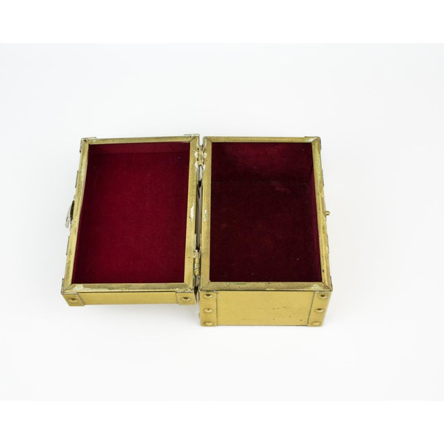 Sarreid Style Miniature Tabletop Brass Trunk For Sale - Image 10 of 12