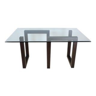 Sculptural Walnut Dining Table With Glass Top For Sale