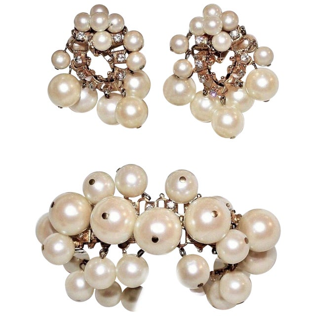 1960s William deLillo Faux-Pearl Bracelet and Earrings For Sale