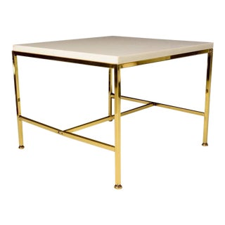 Milk Glass Top Brass Side Table