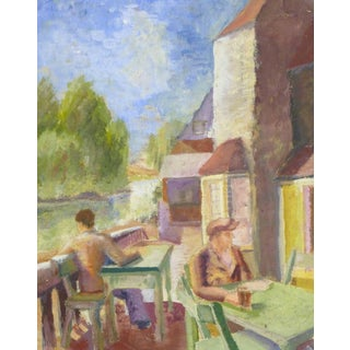 Clive Carpenter, Vintage Watercolor Painting - on the Terrace For Sale