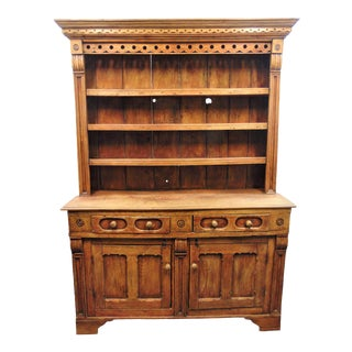 19th Century English Elm Stepback Cupboard For Sale