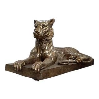 Vintage Life Size Brass / Bronze Tiger For Sale
