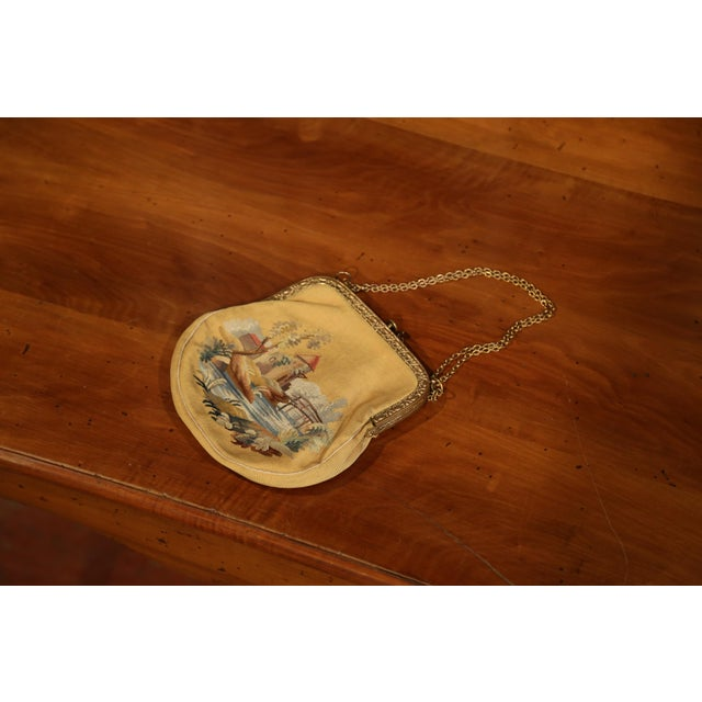 19th Century French Louis XVI Aubusson Ladies Purse With Brass Strap and Lock For Sale In Dallas - Image 6 of 9
