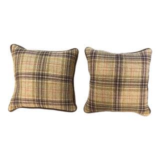 Custom Cowtan & Tout Fabric Plaid Pillows - a Pair For Sale