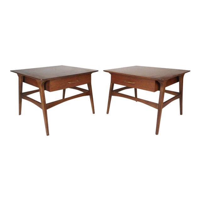 Vintage Modern Walnut Nightstands - A Pair For Sale