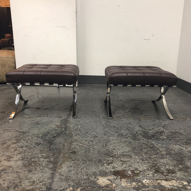 K&d Furniture Barcelona Style Brown Bonded Leather Ottomans - a Pair - Image 7 of 7