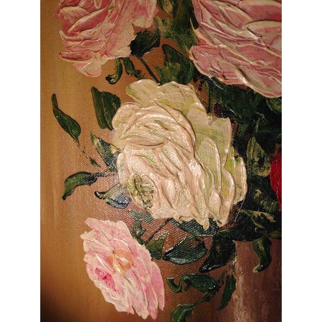 Mid-Century Roses in Brass Vase Still Life Painting - Image 8 of 11