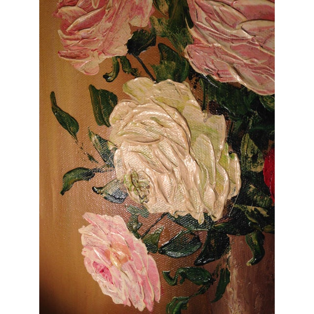 Valentine's Day Mid-Century Roses in Brass Vase Still Life Painting - Image 8 of 11