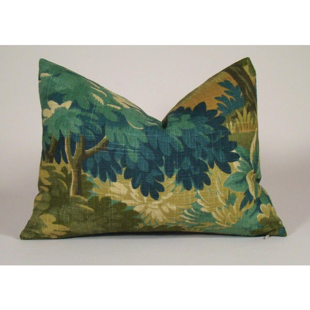 Blue Verdure Print Linen Lumbar Pillow Cover For Sale - Image 8 of 8