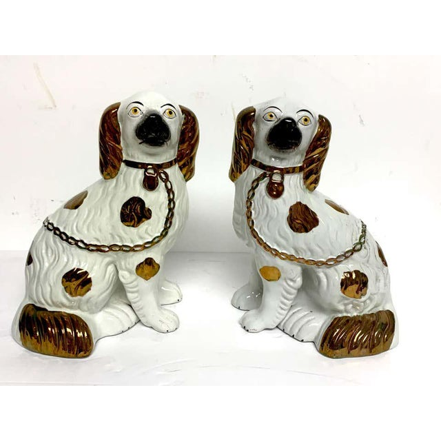 White Tall Staffordshire Copper Luster Dogs With Separated Legs - a Pair For Sale - Image 8 of 9