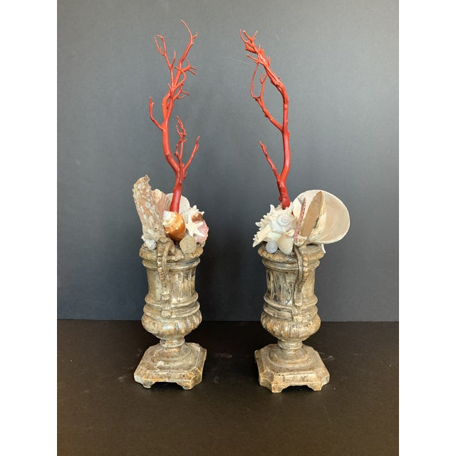 Baroque-Style Carved Silver Gilt Urns With Shell & Faux Coral Composition - a Pair For Sale - Image 4 of 12