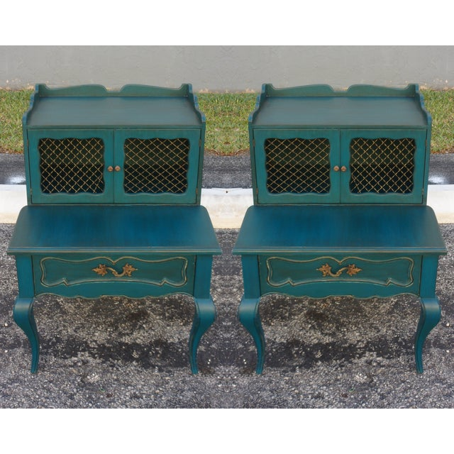 Mid-Century Blue Nightstands - Pair - Image 3 of 9