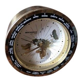 1960s Vintage Wehrle Brass World Time Travel Alarm Clock For Sale