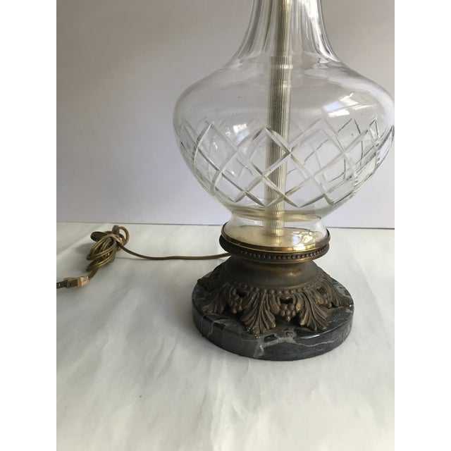Traditional 1900s Victorian Glass Table Lamps with Marble and Bronze Base - a Pair For Sale - Image 3 of 11