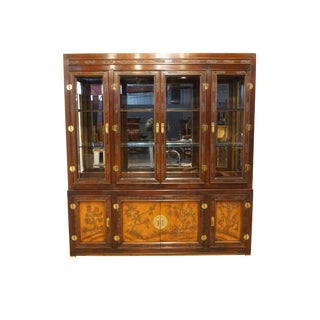 Late 20th Century Vintage Bernhardt Furniture Shibui Collection Illuminated Display China Cabinet For Sale