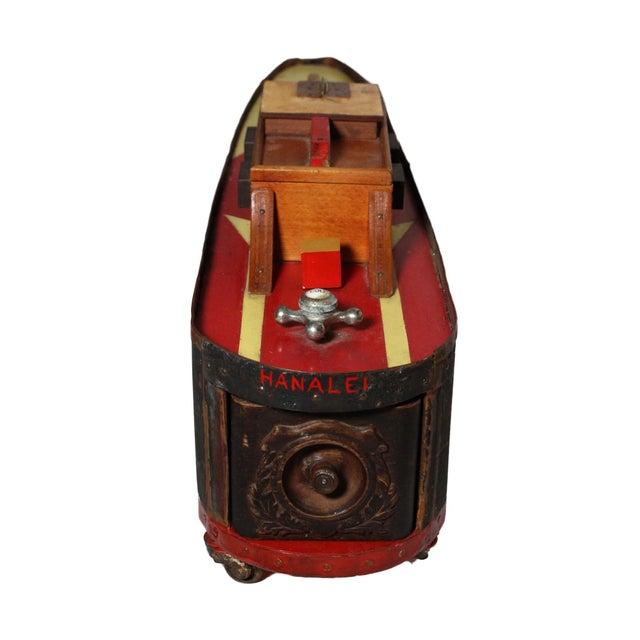 "American Large Handmade Tramp Art Hawaiian ""Toy Ship"" Box For Sale - Image 3 of 9"