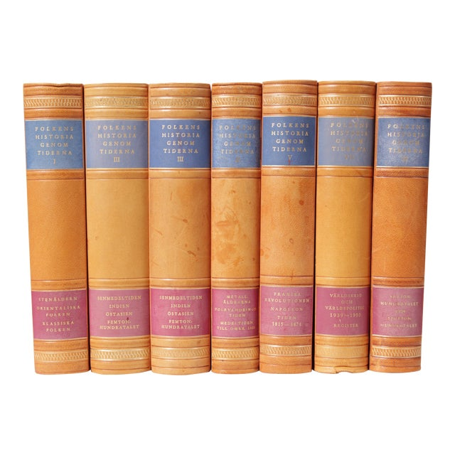 Scandinavian Leather-Bound Books S/7 For Sale