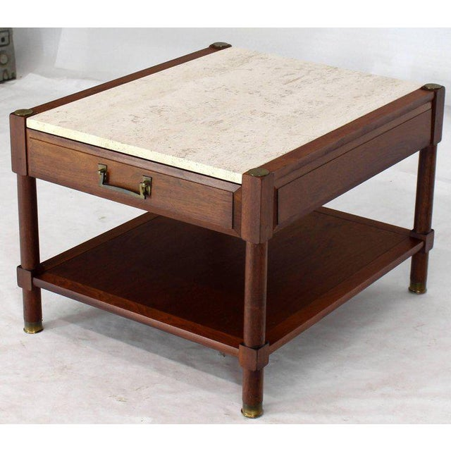 1970s Pair of Travertine Tops One Drawer Oiled Walnut End Side Tables For Sale - Image 5 of 13