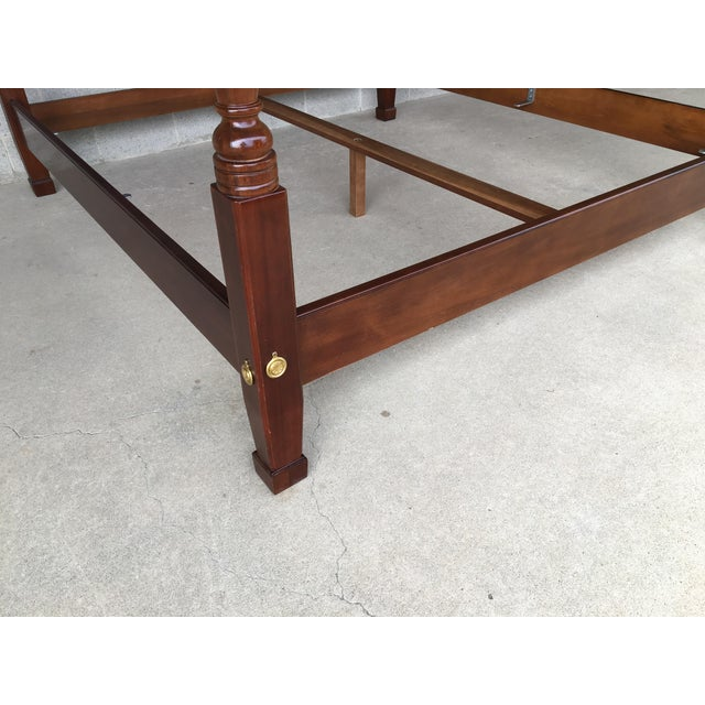 Henredon Henredon Mahogany King Size Chippendale Style Rice Tobacco Poster Bed For Sale - Image 4 of 13