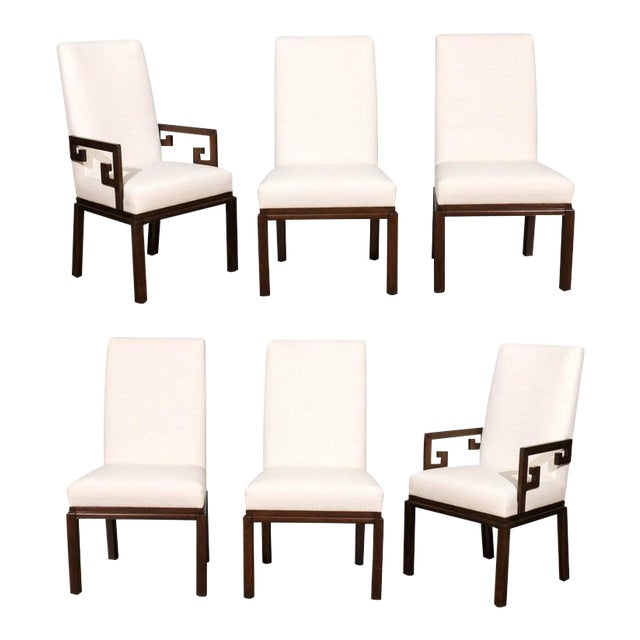 Rare Restored Set of Six Parsons Style Dining Chairs by Baker For Sale