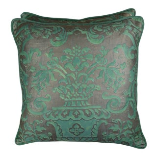 Peacock & Silvery Gold Fortuny Pillows, Pair For Sale