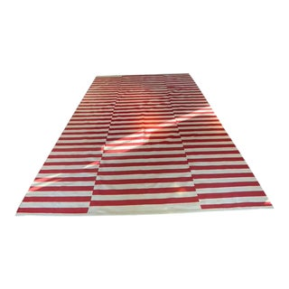 Garnet HIll Classic Red and White Striped Rug - 9′ × 10′ For Sale