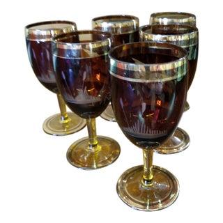 Small Dark Amber Stemmed Wine Glasses - Set of 6 For Sale