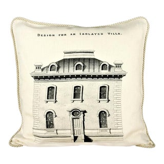 Design for an Isolated Villa Linen Architecture Pillow For Sale