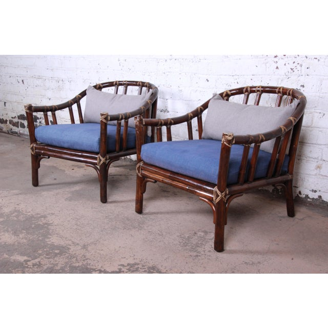 McGuire Hollywood Regency Mid-Century Modern Bent Rattan Lounge Chairs - a Pair For Sale - Image 13 of 13