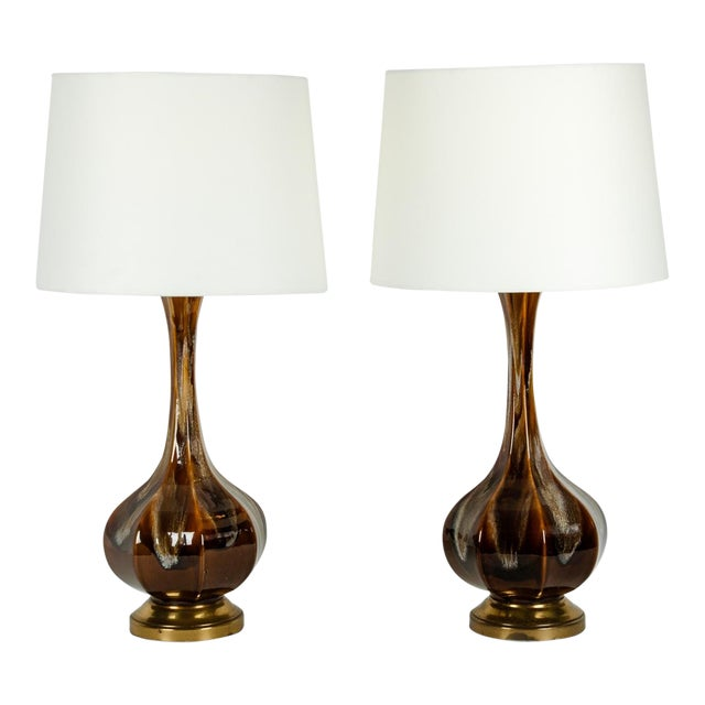 Vintage Porcelain With Brass Base Table or Task Lamps - a Pair For Sale