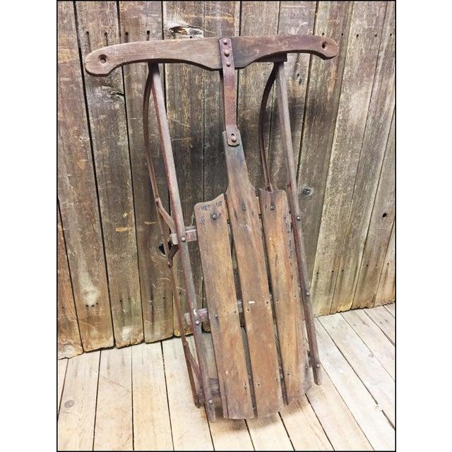 Vintage Weathered Wood & Metal Runner Sled - Image 6 of 11