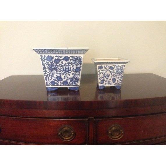 Blue & White Chinoiserie Square Planters - A Pair - Image 3 of 4