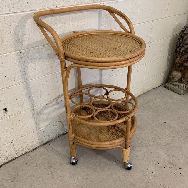 Boho Chic Vintage Bamboo Bar Cart on Casters For Sale - Image 3 of 12