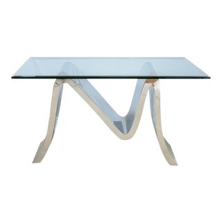 Mid Century Modern Zig Zag Form Polished Steel Console Table For Sale