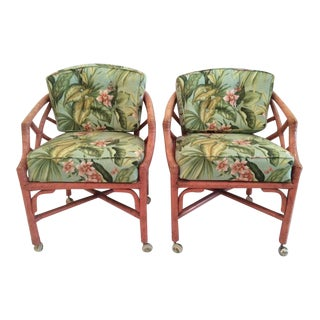 Hollywood Regency Chippendale Rattan Barrel Chairs - A Pair