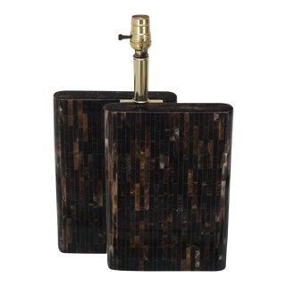 Tessellated Dark Bone Tile Table Lamp For Sale
