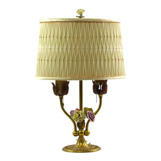 Vintage Bouillotte Style Brass Lamp With Porcelain Flowers and Pleated Shade For Sale