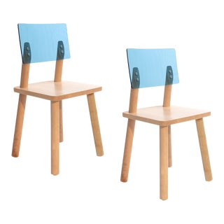 Nico & Yeye AC/BC Kids Chair Solid Maple Blue Acrylic Back - Set of 2 For Sale