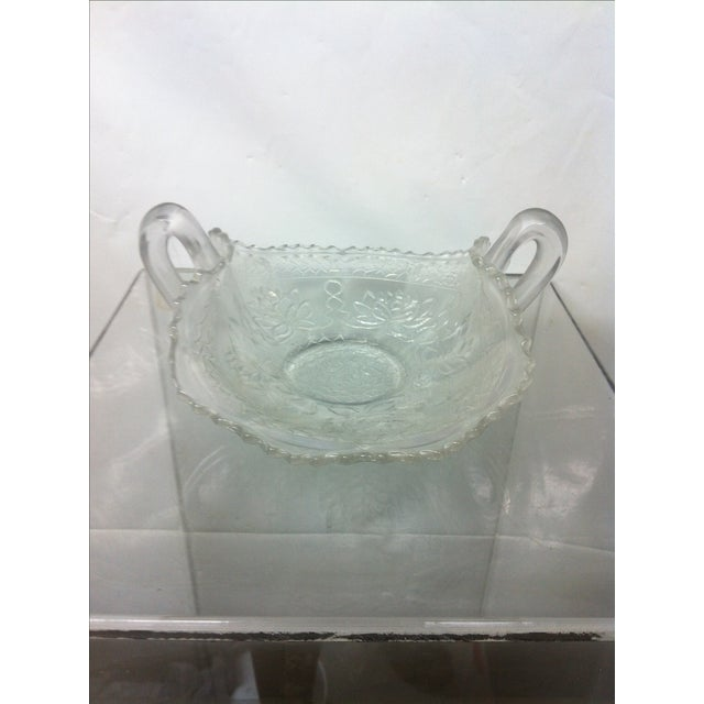 Transparent Pond Lily Iridescent Carnival Glass Card Receiver For Sale - Image 8 of 8