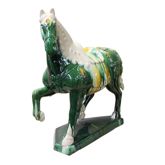 Chinese Green & White Ceramic Marching Horse Figure - Image 2 of 5