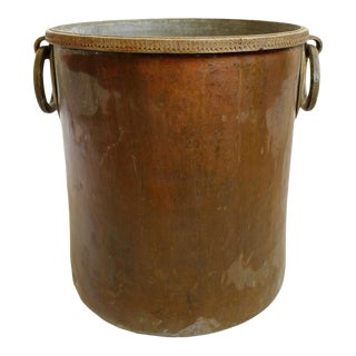 Antique Brass & Copper Hammered Pot For Sale