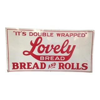 Vintge Metal Enamel Bread Sign For Sale