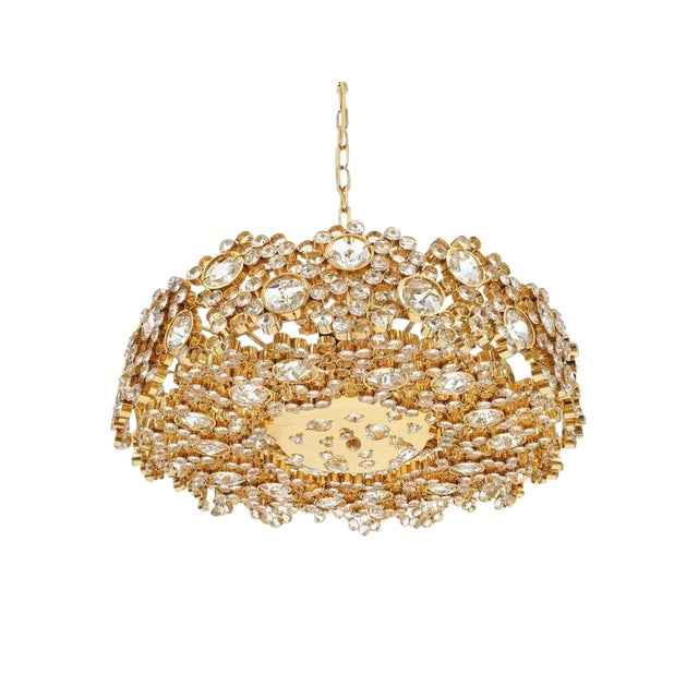 Pair Palwa Crystal Glass Gold Plated Brass Chandeliers Refurbished Lamps, 1960 For Sale