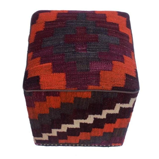 Asian Arshs Dorian Purple/Orange Kilim Upholstered Handmade Ottoman For Sale - Image 3 of 8