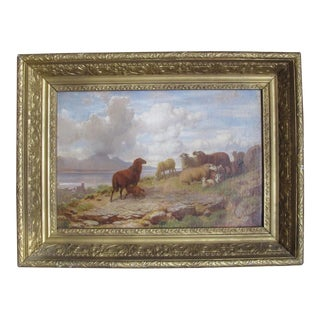 Mid 19th Century Antique Richard Zimmermann German Oil on Canvas Painting For Sale