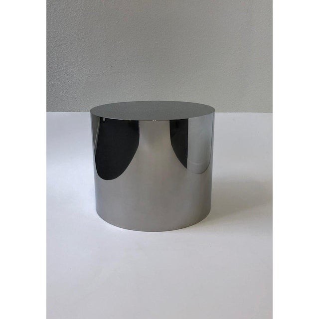 1980s Polish Stainless Drum Side Table by Brueton For Sale In Palm Springs - Image 6 of 9